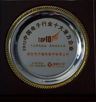 电子行业十大潜力企业奖牌